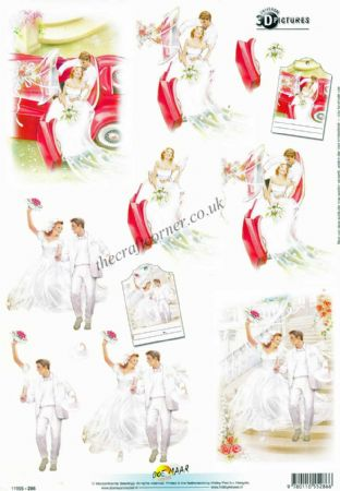 Bride & Groom With A Red Sports Car 3d Decoupage Sheet